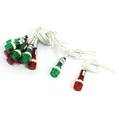 10 pezzi in plastica, colore: rosso e Verde, 220 Vac indicatore Lampada luce segnale pilota - Segnale Indicatore