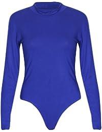 Damen Polo Hoch Rollkragen Damen Langärmlig Stretch Druckknopf Druckknopfverschluss Turnzug Bodysuit T-Shirt Top