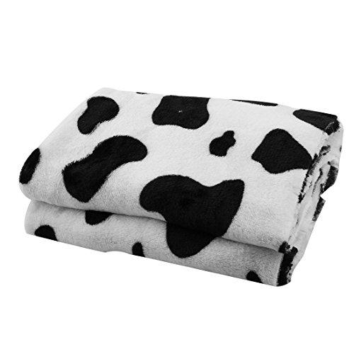 sourcingmap® Hause Reisen Flanell Kuh Muster weich Bett Teppich Schal DIY Tuch weiß 1,75x0,5M