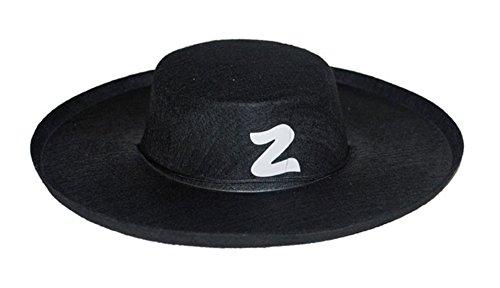 Faschingsfete Zorro Kostüm Hut Kopfbedeckung Zorrokostüm Erwachsene, Schwarz