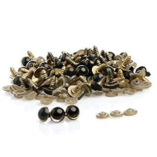 AUAUDATE 100pcs Plastic Safety Eyes for Teddy Bear Doll Plush Toys Animal Puppet DIY Crafts (8mm, Golden)
