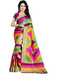 Macube Women's Bhagalpuri Silk Printed Saree With Unstitched Blouse Piece - MS883_25_Pink And Yellow_Free Size