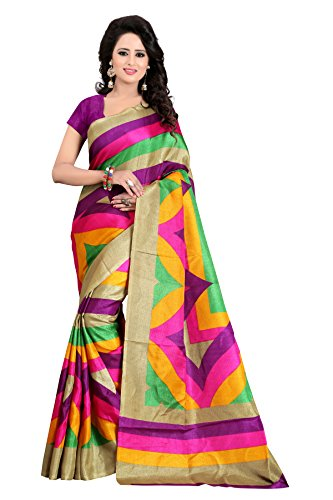 Sarees (Woman`s Clothing Saree For Woman Latest Desigen Wear Sarees Collection In Rani-Color Bhagalpuri Silk Material Latest Sarees With Designer Blouuse Free Size Beautiful Bollywood Sarees For Woman Party Wear Offer Designer Sarees With Blouse Piece)  available at amazon for Rs.349