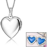 Da donna A forma di cuore medaglione ciondolo placcato oro bianco per le donne per foto aperto