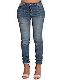 Women's Ladies Blue Casual Denim Glam Gorgeous Ripped Skinny Jeans
