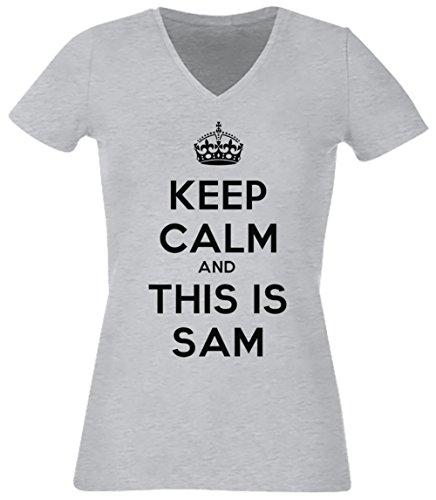 keep-calm-and-this-is-sam-donna-v-collo-t-shirt-grigio-cotone-maniche-corte-grey-womens-v-neck-t-shi
