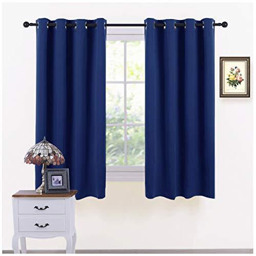 Pony dance decorazione tende finestre soggiorno (l 116 x a 137 cm, blu marino) 2 pannelli di tende termiche isolanti per salotto moderne/drappeggi spessi corte con occhielli