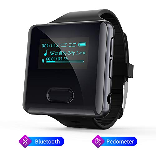 Reproductor MP3 Bluetooth con Podómetro 16GB Reproductor MP3 Deportivo Running Radio FM Reproductor MP3 Clip Correas de Reloj Mide Tus Pasos Ampliable Hasta 128 GB