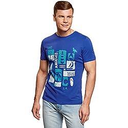 oodji Ultra Hombre Camiseta con Estampado de Verano, Azul, ES 56/XL