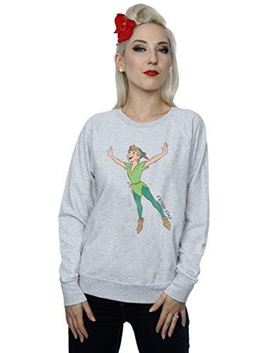Disney Femme Classic Flying Peter Pan Sweat-Shirt Heather Gris