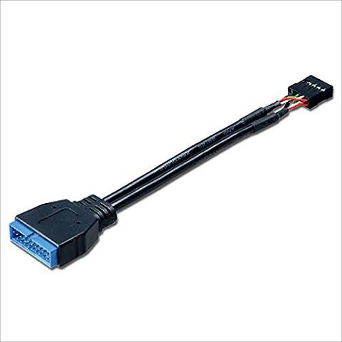 Akasa - Cable Adaptateur USB 3.0 vers USB 2.0 Interne - 10 cm - AK-CBUB19-10BK - Noir - 2 Header