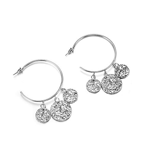 Hyperbole Gold Round Sequins Circle Dangle Earrings For Women Bohemian Big C Shape Drop Earring Party Fashion Jewerly A723,Silver