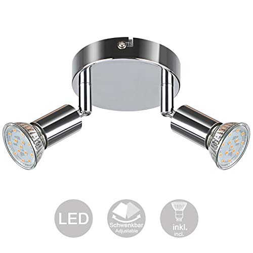Creyer LED Deckenstrahler 2 Flammig, Schwenkbar LED Deckenleuchte, ø110mm (inkl. 2 x 4W GU10 LED Leuchtmittel, 400LM, Warmweiß) Modern Wohnzimmer LED Deckenspot, Rund LED Deckenlampe - Weiß Chrome