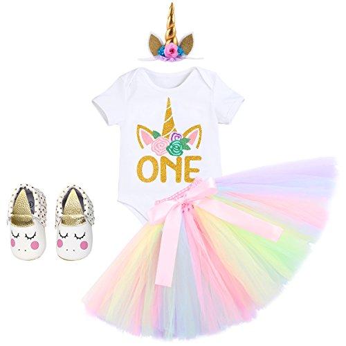 IWEMEK Baby Mädchen Einhorn Geburtstag Kostüm Kleinkinder 1. Geburtstag Outfit Prinzessin Strampler Body Regenbogen Tütü Rock Einhorn Stirnband Schuhe 4tlg Bekleidungssets für Fotografie 6-12M