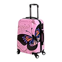 Hard Shell 4 Wheel Suitcase PC Luggage Trolley Case Cabin Hand Butterfly Pink
