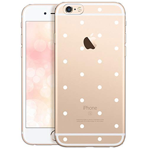 OOH!COLOR Schutzhülle Kompatibel mit iPhone 6 Plus iPhone 6S Plus Hülle Silikon Handyhülle Transparent dünn Case mit Motiv weiße Punkte (EINWEG)