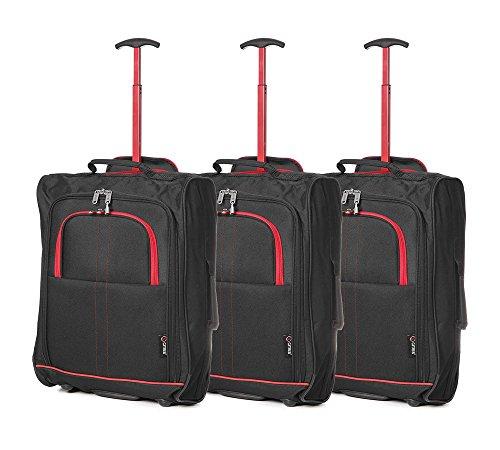 """Set of 3 21""""/55cm 5 Cities Kabine zugelassenes Handgepäck Leichte Trolley-Taschen Für Ryanair / Easyjet (Schwarz) Rot + schwarz"""
