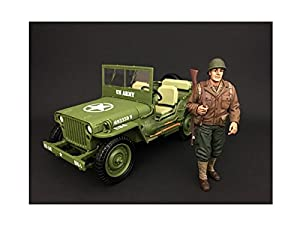American Diorama-77410-Figura-WWII USA Soldier 1con Riffle-Escala 1/18-marrón/Beige