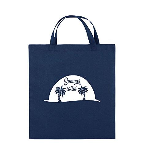 Comedy Bags - Summer callin - PALMEN - Jutebeutel - kurze Henkel - 38x42cm - Farbe: Schwarz / Silber Navy / Weiss