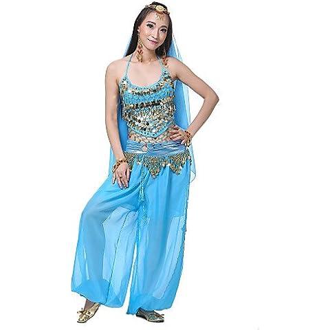 UY&UY danza del vientre de seda de las mujeres de desempeño conjunto -incluyendo tocado, velo, superior, inferior (más colores) ,