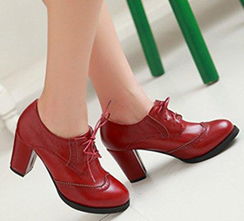 Aisun Femme Mode Bout Rond Lacets Richelieus Rouge