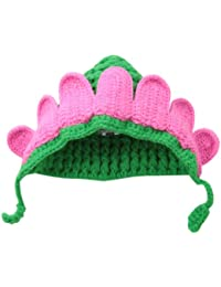 Mud Pie Baby-Girls Newborn Flower Knit Hat, Pink/Green, 0-3 Months