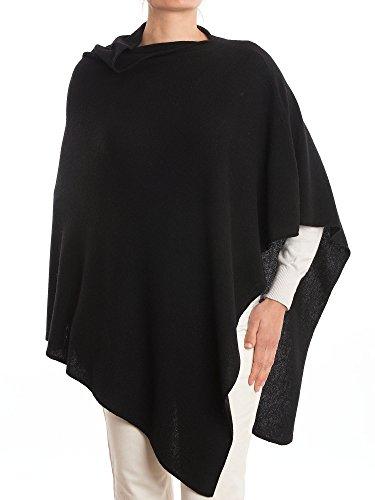 Schwarzer Poncho (DALLE PIANE CASHMERE - Poncho aus Kaschmir-Gemisch - für Damen, Farbe: Schwarz, Einheitsgröße)