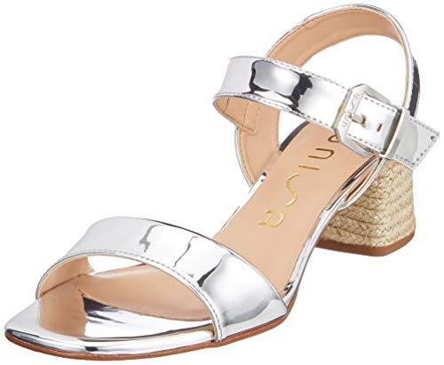 Unisa Kanela_sp, Sandali con Cinturino alla Caviglia Donna, Argento Silver, 39 EU