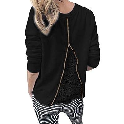 Yvelands Damen Sweatshirt T-Shirt O-Ausschnitt Langarm Spitze Patchwork Sweatshirt Bluse Tops