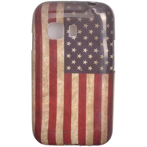Voguecase TPU Funda de Silicona de Gel Carcasa Tapa Case Cover Para Samsung Galaxy Young 2 SM-G130 (Bandera americana retro) + Gratis aguja de la pantalla stylus universales