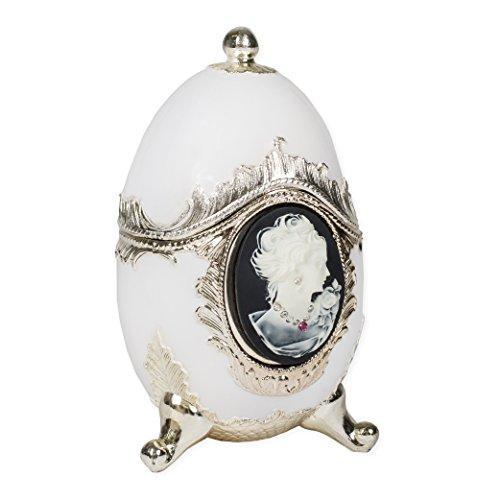 Splendid Music Box Co. Schwarz und Weiß Cameo Musikspieluhr Fabergé-Ei Form Metall Musical Figur Spielt Unforgettable -