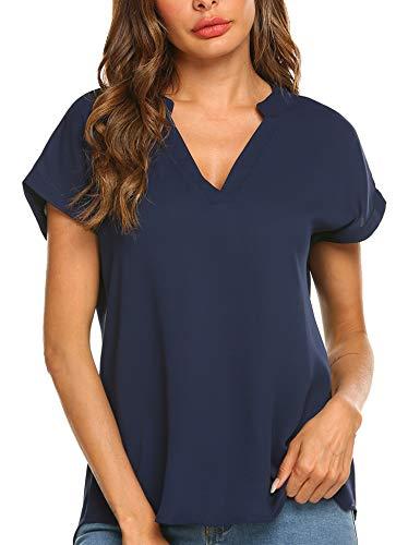 Parabler Damen V-Ausschnitt Hemdbluse Chiffon Blusen Frauen T-Shirt Tops Sommer Einfarbig Kurzarm Casual Tunika Loose fit