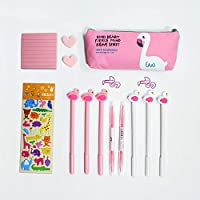 Black Rollerball Pen Pencil Case Cute Pens Stationary Gift Set Signing Pen 0.38mm for School Office Supplies (Flamingo)