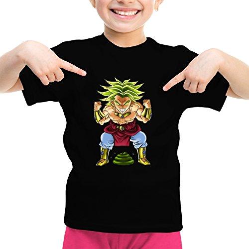 Okiwoki T-Shirt Enfant Fille Noir Dragon Ball Z - DBZ parodique Broly Le Guerrier millénaire : Super Caca Vol.3 - Le Caca Millénaire (Parodie Dragon Ball Z - DBZ)