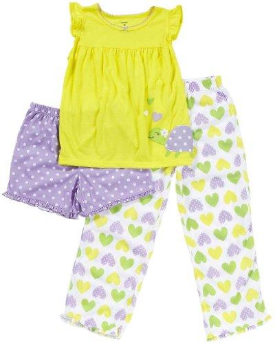 Schlafanzug Größe 116/122 Mädchen 3 teilig Schildkröte Pajama kurz lang US SIZE 7 t turtle (Carters Schlafanzug Kurzen)