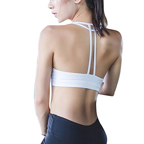 Moresave Reggiseno a forma di fitness rivestito in reggiseno da sport delle donne Yoga bianca