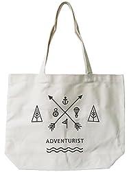 Womens Reusable Canvas Bag- Unique Adventurist Natural Canvas Tote Bag