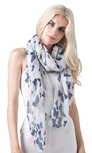 - 413hemuBhtL - Ladies Women's Fashion Butterfly Print Long Scarves Floral Neck Scarf Shawl Wrap (White)