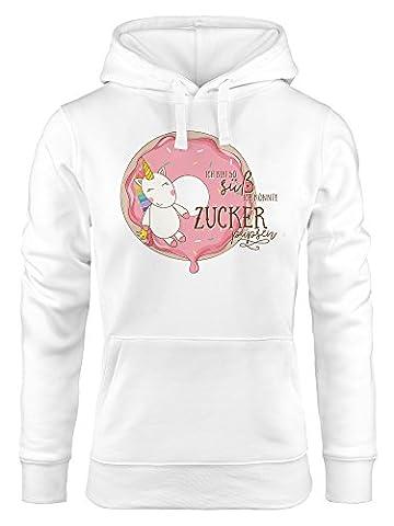 Kapuzen-Pullover Damen Einhorn auf Donut Ich bin so süß ich könnte Zucker pupsen Unicorn Hoodie Moonworks® weiß M
