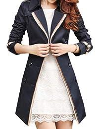 Zengbang Femme Veste Coupe-Vent à Double Boutonnage Classique Blouson  Manteau Décontractée Ceinture 8c4ade227704