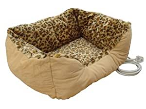 Medium sized heated pet bed with leopard print design