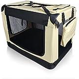 Auralum® Cómodo Casa de transporte para mascotas Transportín plegable para perro.Color:Caqui