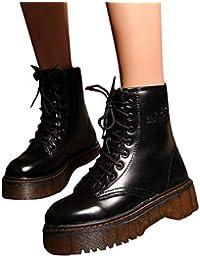 ❤️ Botas de Invierno Mujer Retro, Moda a Prueba de Agua Mujeres Retro Zapatos Algodón Botas con Cordones Antideslizante Talón Grueso Caballero Botas Absolute