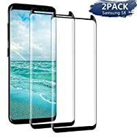 AUELEK Screen Protector for Samsung Galaxy S8 [2 Pack], S8 Tempered Glass Screen Protector Film, 9H Hardness, Anti-Fingerprint, Anti-Shatter, Full Coverage Samsung S8 Screen Protector Film(Black)