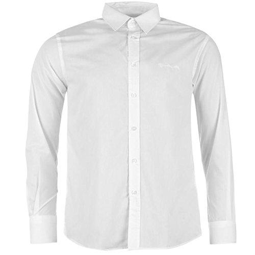 Pierre Cardin-Maglia a manica lunga da uomo chiusura a bottone Top Smart camicia per il tempo libero bianco XL