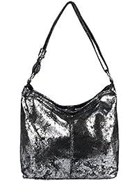 0cc99cd97f4c3 OBC Made in Italy Damen Echt Leder Tasche Metallic Shopper Hobo-Bags Blumen Schultertasche  Umhängetasche Handtasche Henkeltasche…