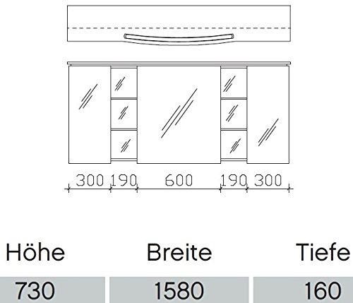 Pelipal Badmöbel – Pelipal Spiegelschrank Comfort – 158 cm - 2