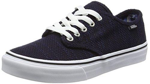 Vans Camden Stripe, Baskets Basses Femme Bleu (Tweed black/midnight blue)