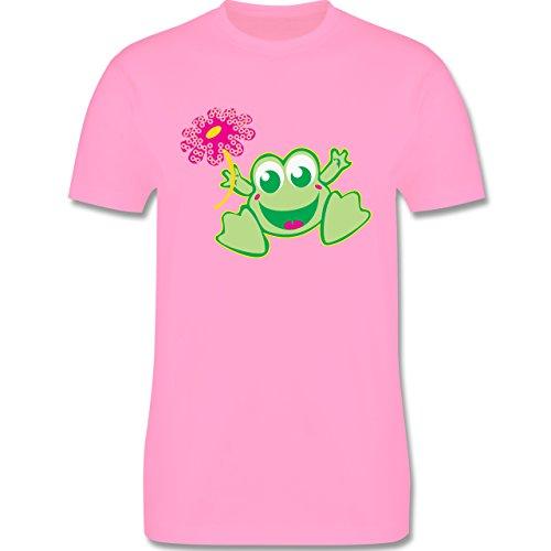 Blumen & Pflanzen - Frosch mit Blume - Herren Premium T-Shirt Rosa