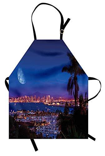 (USA-Schürze, San Diego Kalifornien Nacht mit großem Mond auf dem Horizont Yachts Panorama, Unisex-Küchenschürze mit verstellbarem Hals zum Kochen Backen Gartenarbeit, Marine-Blau-Rosa-Braun)